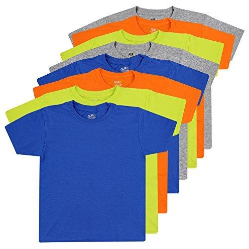 AURO Boys Premium Cotton Comfort Crew Neck Tees - 8 Pack, M (Assorted Color)