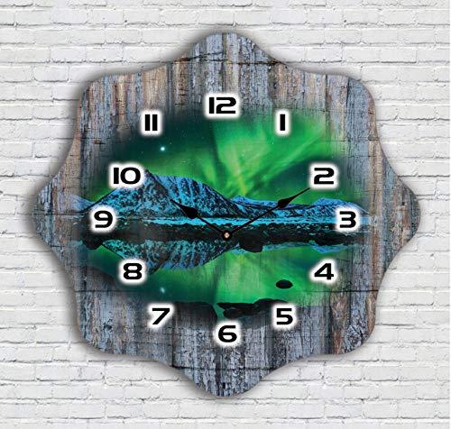 Color Agile Shabby funkwanduhren Wohnzimmer Funkuhr aus Holz Vintage küchenuhr Wand wanduhr ohne tickgeräusche
