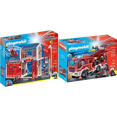 PLAYMOBIL 9462 Spielzeug-Große Feuerwache & 9464 Spielzeug-Feuerwehr-Rüstfahrzeug