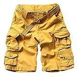 Shaoyao Bermudas Cargo Shorts Hombres Pantalones Cortos Leisure Militar Camuflaje Amarillo M
