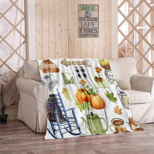 Kuidf Fall Farmhouse manta de cobertura, acuarela Clipart acogedor otoño cosecha camión calabaza franela ropa de cama mantas decorativas acogedora manta suave para sofá de dormitorio, 150 x 150 cm
