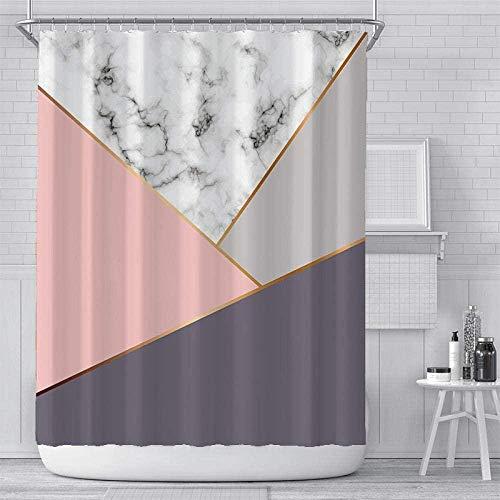 SYXYSM Cortina De Ducha Pink 100% Poliéster Impermeable con 12 Ganchos Pantalla De Privacidad para Hogar Y Hotel [Lavable] 180 X 180 Cm