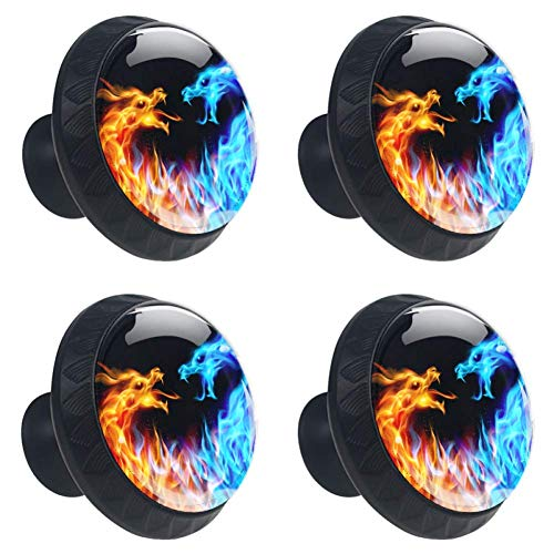 DEYYA Blue and Red Fire Dragons Glass Cabinet Knobs 4 Pcs 30mm Drawer Handles for Kitchen Cabinets Dresser Cupboard Wardrobe
