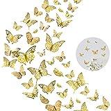 60 pegatinas 3D de mariposa, decoración artística metálica hueca de MOTASOM, removible, decoración para el hogar para niños, niñas, recámara, guardería, boda (5 estilos + dorado)