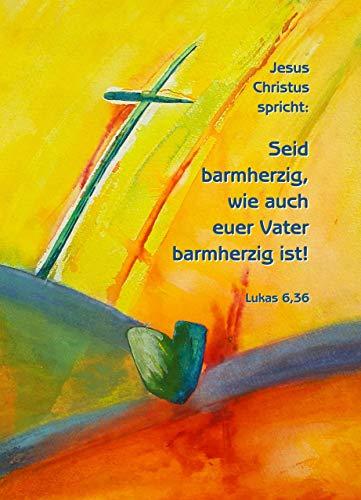 Jahreslosung 2021, Postkarte, 50er-Set, »Seid barmherzig, wie auch euer Vater barmherzig ist!«, Motiv »Barmherzigkeit« von Angelika Litzkendorf