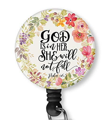 Inspirational Quote God is in Her She Will Not Fail Retractable ID Card Badge Holder with Alligator Clip, Name Nurse Decorative Badge Reel Clip on Card Holders