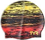 TYR Sunset Adult Fit Gorro de Silicona para natación, Unisex, Rojo/Amarillo