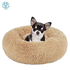 PUPPBUDD Calming Dog Bed Cat Bed Donut, Faux Fur Pet Bed Self-Warming Donut Cuddler, Comfortable Round Plush Dog Beds for Large Medium Dogs and Cats (24″/32″/36″)