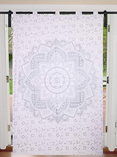 Mandala - Juego de cortinas decorativas para ventanas, ventanas, ventanas, ventanas, cortinas individuales, mandala, tamaño doble, 125 cm x 208 cm, cortina para colgar en la puerta de la ventana