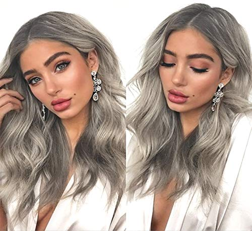LANOVA Silver Ash Blonde Wigs with Dark Roots Ombre Synthetic Hair Wavy Wig Mixed Blonde Hair Wig Middle Part 18 inch LANOVA-032