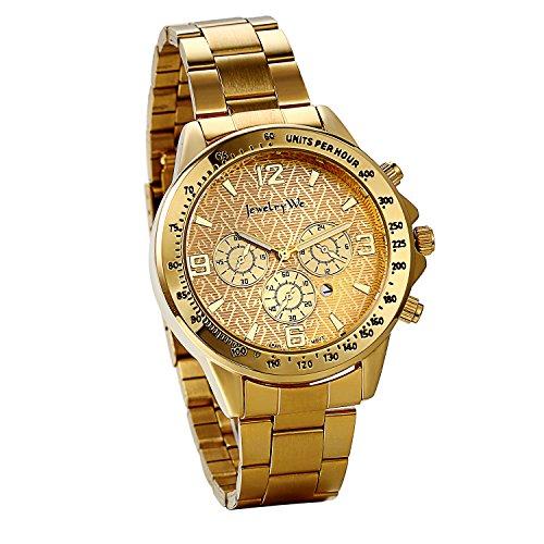 JewelryWe Herren Armbanduhr, Analog Quarz, Klassische Fashion Business Casual Kalender Sport Uhr mit Edelstal Armband mit Digital Zifferblatt, Gold