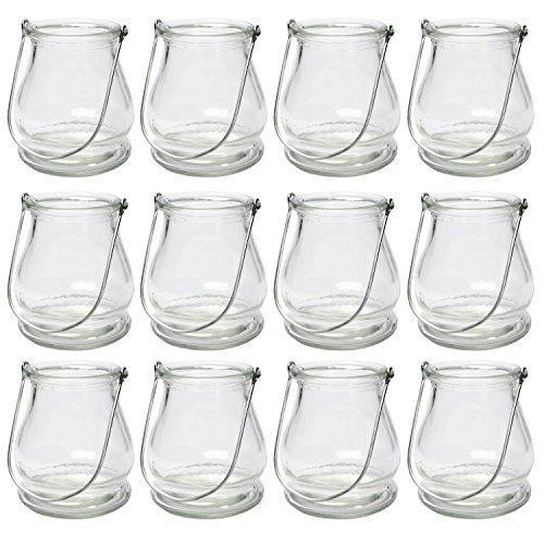 BODA Creative Windlichter, 12 Stück mit Henkel, Laterne Glaslaterne Garten-Deko, Ø 9cm