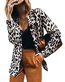 ORANDESIGNE Blazer para Mujer Estampado de Leopardo Elegant Collar de Solapa Talla Grande Sastre Chaqueta de Manga Larga Outwear Jacket Leopardo 40