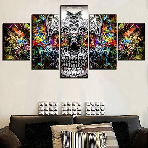 AHJJK Impresión en Lienzo 5 Piezas Cartel de Calavera Lona Artística Imagen de Pared Sin Marco Adecuado para decoración de restaurantes XL(150x80cm)