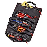 Powerbuilt Pro Tool Bag Roll Organizer, Portable, Great for Off-Road, Heavy Duty 1200D Polyester, 18-1/2 in. x 15 in. Open Size, Hanging Strap, Carry Handle, 5 Zipper Pockets, 14 Wrench Slots
