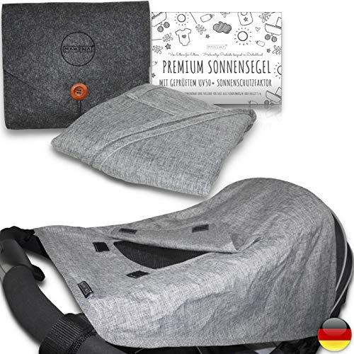 MAHEWA® Premium Sonnensegel für Kinderwagen mit UV Schutz 50+ Sonnenschutz und Regenschutz universal Passform für Kinder-Buggy und Babywanne Wasserdicht und Verstellbar Sonnendach Grau