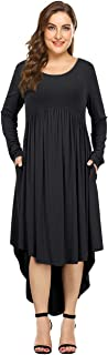 AMZ Plus Plus Size Scoop Neck Long Sleeve Pleated Tunic Casual Dress for Women Black 5XL