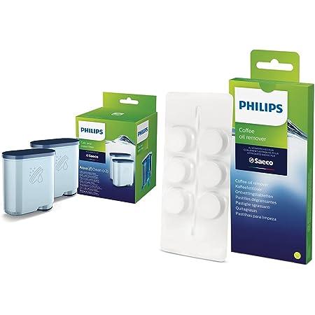 Philips Filtre à Eau et à calcaire CA6903/22 Lot de 2 & Philips CA6704/10 Pastilles Dégraissantes Spécial Machine Espresso Pack de 6