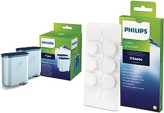 Philips Filtre à Eau et à calcaire CA6903/22 Lot de 2 & Philips CA6704/10 Pastilles Dégraissantes Spécial Machine Espresso...