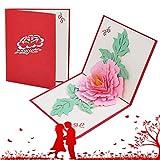 Tarjeta de felicitación emergente 3D,tarjeta De Felicitación Romántica,tarjeta de Felicitación de Boda,se utiliza para el Día de San Valentín,aniversarios (Peonía)