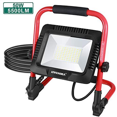 LED Baustrahler 50W, HYCHIKA Wasserdichtes IP65 LED Flutlicht, 360 ° Drehung, 5500 LM 6500K Superhelle, leistungsstarke Arbeitsleuchter, 2 m Kabel mit Stecker