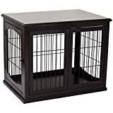 PawHut 26'' Wooden Decorative Dog Cage Pet Crate Kennel with Double Door Entrance & a Simple Modern Design, Dark Brown