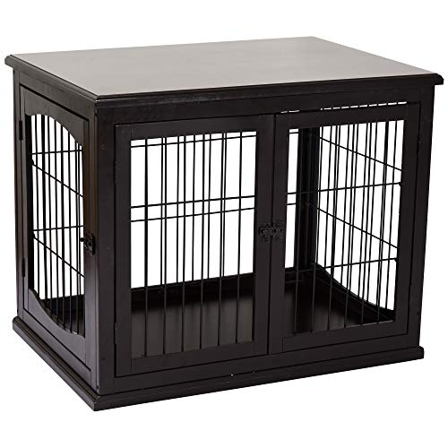 PawHut 26'' Wooden Decorative Dog Cage Pet Crate Kennel with Double Door Entrance & a Simple Modern Design, Dark Coffee Basic Crates