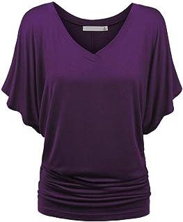 Dubocu Women's Solid Causel T-Shirt Top Deep V Neck Blouse Plus Size