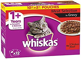 Whiskas Tender Bites Favourite Selection in Gravy, Pouch, Adult Chicken & Beef, Multipack, 12 x 85 gm