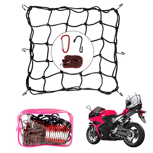 """16""""x16"""" Super Duty Cargo Net - Bungee Net Stretches to 32"""" x 32""""  40"""" Luggage Fixed Strap Rope  6 Steel Carabiners+6 Metal Hooks  3""""x3"""" Grid Holds Tighter for Moving, Camping, and Trucks - Red"""