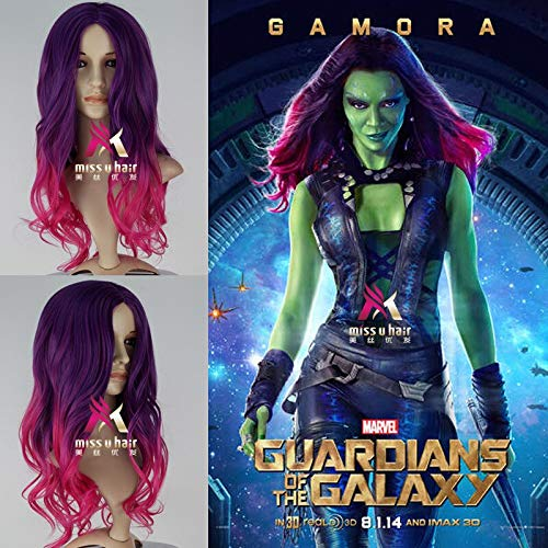 GJBXP Biamoxer Gamora Cosplay Perücken Guardians Of The Galaxy Vol. 2 langes lockiges Steigungs-purpurrotes rosafarbenes synthetisches Haar für Erwachsenen