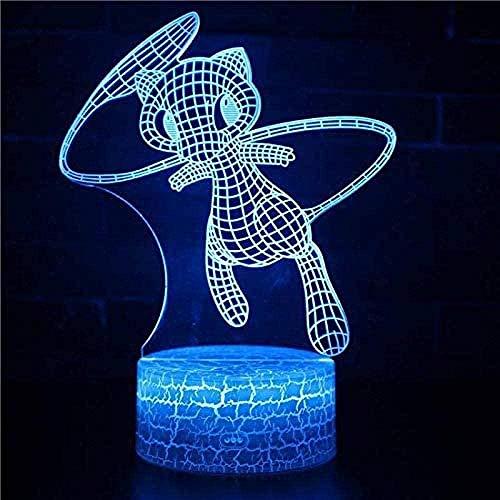 Lámpara de noche 3D de ilusión 3D, Mew Pokemon 3D, luz de noche para niños, 16 colores que cambian con remoto cumpleaños y vacaciones, un regalo para niños niñas Mew Pokemon