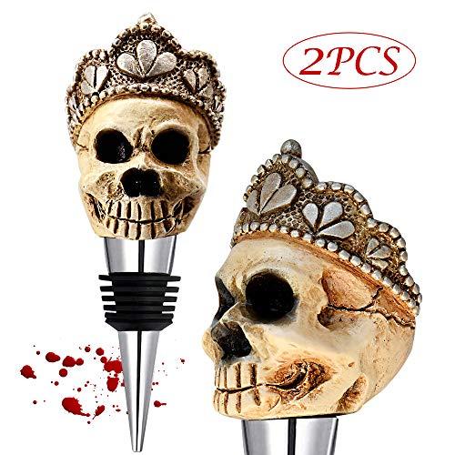 White Skull Topper Wine Bottle Stopper,Personalized Wine Skull Shape Stainless Steel Wine Stopper Halloween Gift