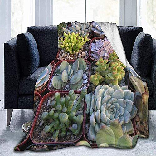 Biubiu-Shop vleesachtige potplanten ultrazachte fleece deken flanel fluweel pluche deken 50 x 40 inch