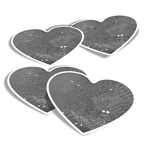 Pegatinas de vinilo con forma de corazón (juego de 4) – BW – Calcomanías divertidas para computadora portátil, tabletas, equipaje, reserva de chatarra, frigoríficos #42595