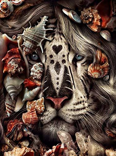 Bordado de diamantes redondos completos DIY pintura de diamantes punto de cruz taladro Tigre León cara y flores imagen de diamantes de imitación A18 45x60cm