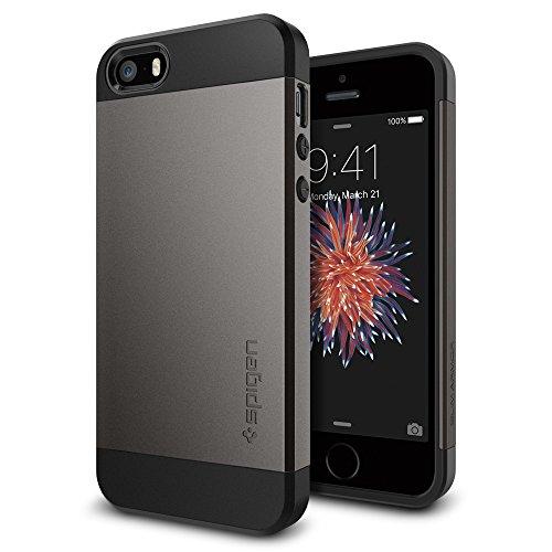 Spigen SGP10475 Slim Armor Kompatibel mit iPhone SE/5S/5 Hülle, Doppelte Schutzschicht Schutzhülle Case Gunmetal