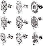 PandaHall 20 piezas de 10 estilos de pendientes de flor hueca, pendientes de tuerca con base de arete de bucle, piezas de pendientes, parte trasera de pendientes para hacer joyas y pendientes