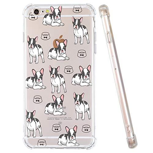 iPhone 6S Plus Case, iPhone 6 Plus Case, Cute French Bull Dog Clear iPhone Case Girls Women Soft Flexible TPU Bumper Shockproof Transparent Protective Arts Cover Case for iPhone 6S Plus/iPhone 6 Plus