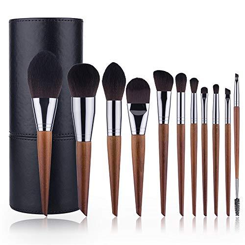Brosse Maquillage Kit Outils de Maquillage Portable Voyage 11 Maquillage de Queue Oblique Brosses en Bois Couleur Super Soft Fibre Beauty Tool Set Brown pour Le Visage et cosmétiques Eye
