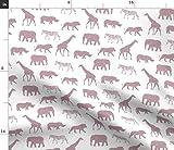 Spoonflower Stoff - Safari Tiere Mauve Elefant Giraffe