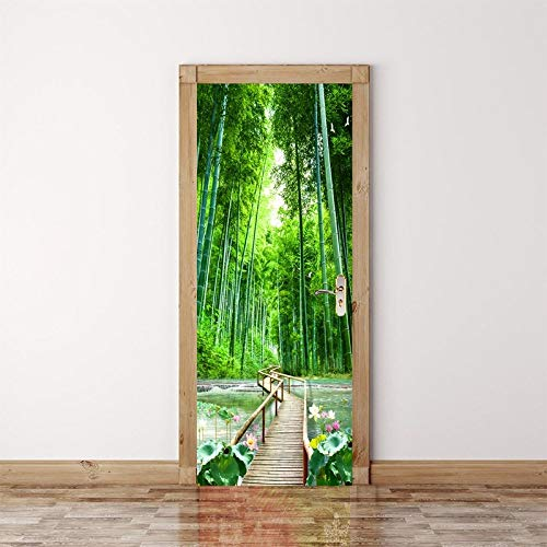 FANGDUHUI 3D Door Sticker,Forest Wooden Bridge Path Diy Refurbish Wall Sticker Mural Wallpaper Poster Self Adhesive Pvc Removable Waterproof Door Decal Home Decor,77×200Cm