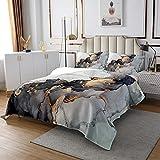 Erosebridal Black Marble Bedspreads King,Black and Grey...