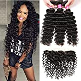 VRBest Brazilian Deep Wave with Lace Frontal Ear to Ear 13x4 Closure with Bundles 10A 100% Unprocessed Virgin Human Hair Bundles Free Frontal Black Color (20 22 24+18 frontal)