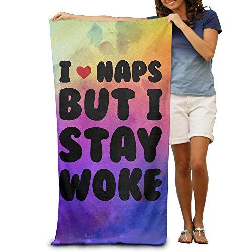 JACARTER PUSAUL I Love Naps But I Stay Woke Soft Lightweight Beach Towel Pool Towel 31'x 51'