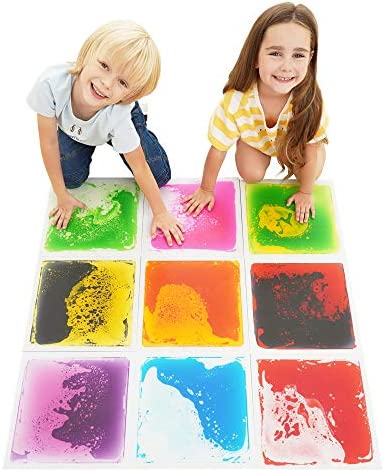 Special Supplies Square Floor Liquid Tiles for Kids Set of 9 Colorful Early Learning Sensory product image