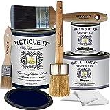 Retique It Chalk Furniture Paint by Renaissance Deluxe Starter Kit, Wax, 45 Black Indigo