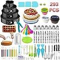 Cake Decorating Supplies,293 PCS Cake Decorating Kit 4 Packs Springform Cake Pans, Cake Rotating Turntable,48 Piping Icing Tips,7 Russian Nozzles, Baking Supplies,Cupcake Decorating Kit