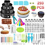 Cake Decorating Supplies,293 PCS Cake Decorating Kit 4 Packs Springform Cake Pans, Cake Rotating...