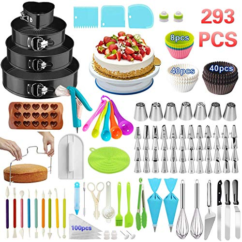 Cake Decorating Supplies,293 PCS Cake Decorating Kit 4 Packs Springform Cake Pans, Cake Rotating Turntable,48 Piping Icing Tips,7 Russian Nozzles, Baking Supplies,Cupcake Decorating Kit